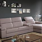 barek sofa narożnik z barkiem brązowa skórzana