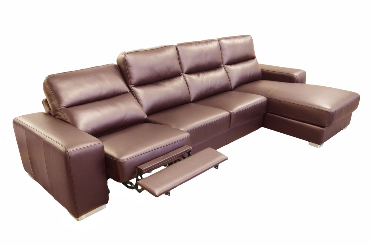 comfort brązowy narożnik skórzany z funkcją relax