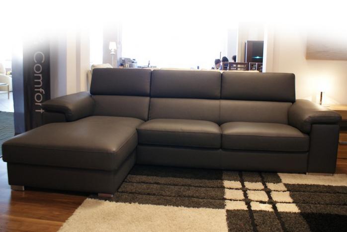 dion sofa narożnik ciemna skóra zcarna