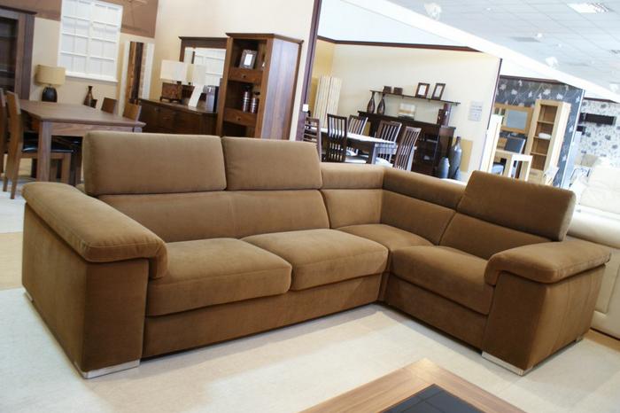 dion sofa narożnik tapicerka brązowa