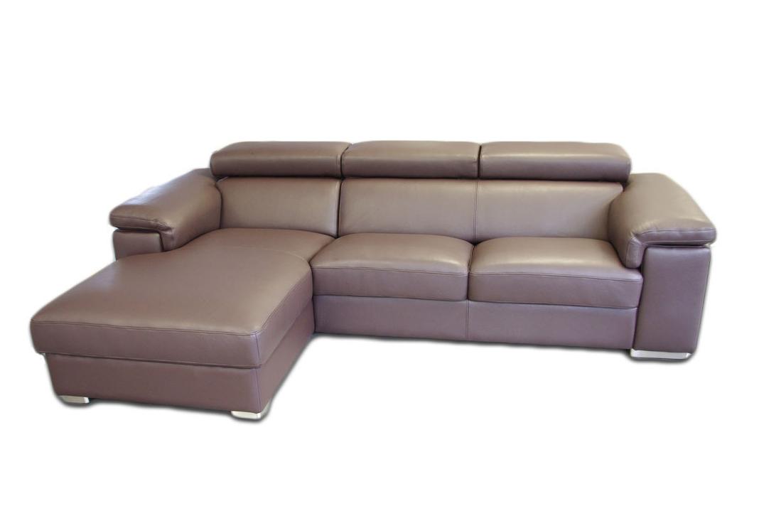 dion sofa narożnik z poduszkami i zagłówkami brązowa