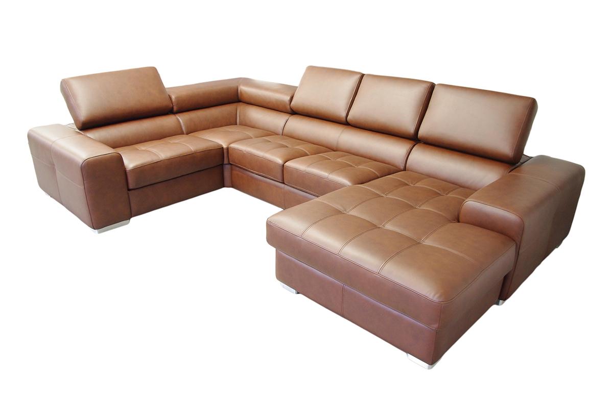galaxy brązowa nowoczesna sofa ze skóry