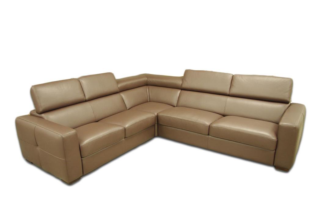 genesis brązowa sofa narożnik z zagłówkami