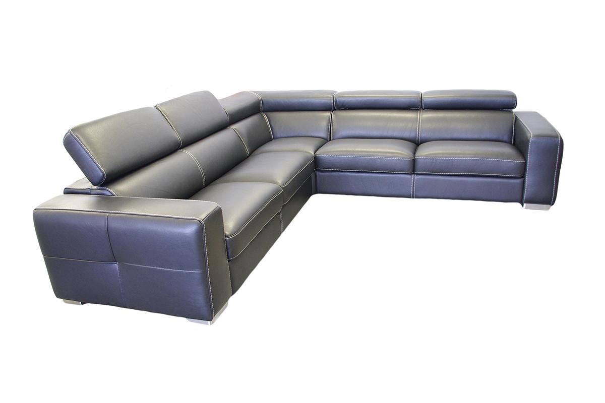 genesis czarna skórzana sofa narożnik
