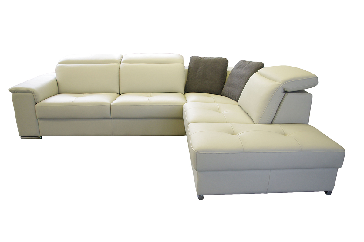 genua sofa narożik biała skóra metalowe nogi