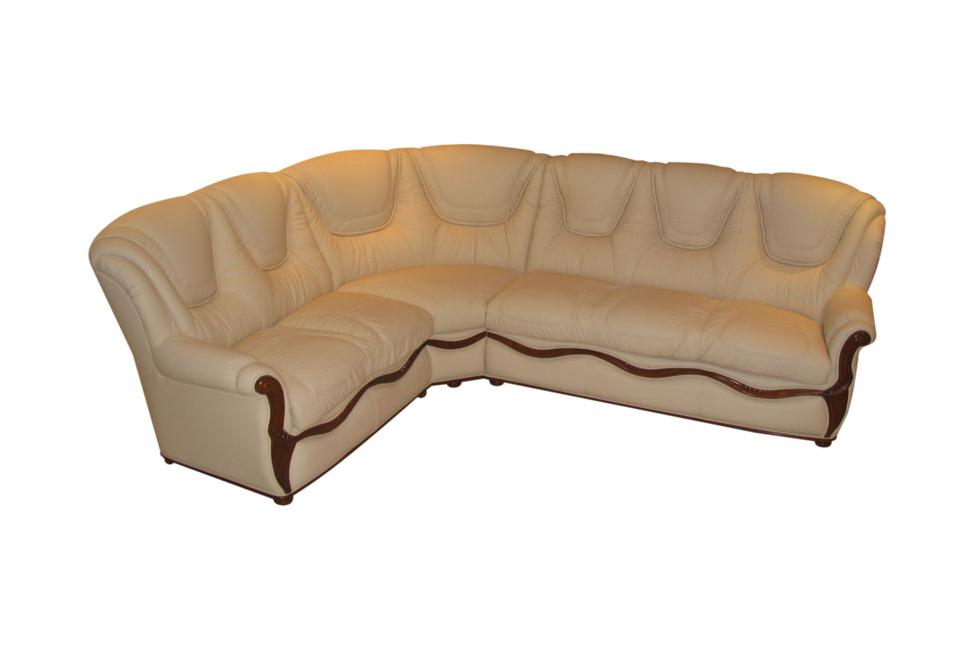 innes stylowa sofa narożnik z elementami z drewna kremowa