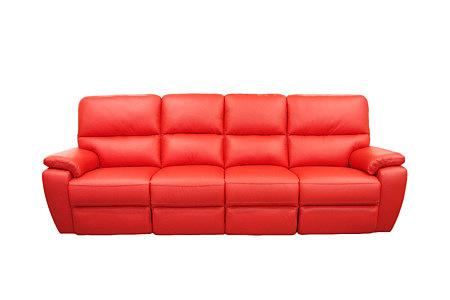 marco czerwona nowczesna sofa skórzana