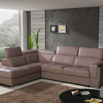 narożnik sofa skórzana z regulowanymi zagłówkami