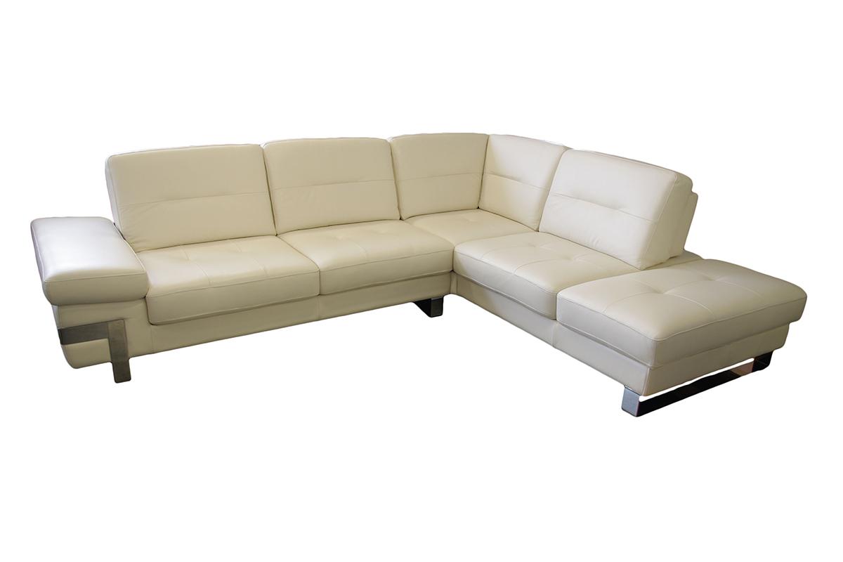 olivier sofa narożnik biała skóra elementy metalowe