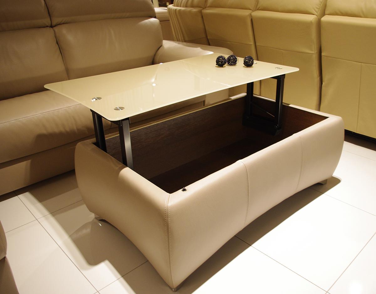 profilowana stolik ze szklanym blatem do salonu