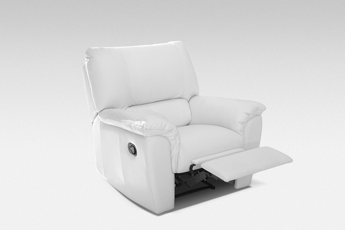 relax fotel skórzany biały z wysuwanym podnóżkiem