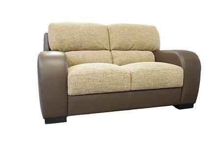 sara2 sofa dwuosobowa beżowo brązowa tkanina forgotex