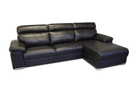 savoy sofa narożnik z czarnej skóry z funkcją spania