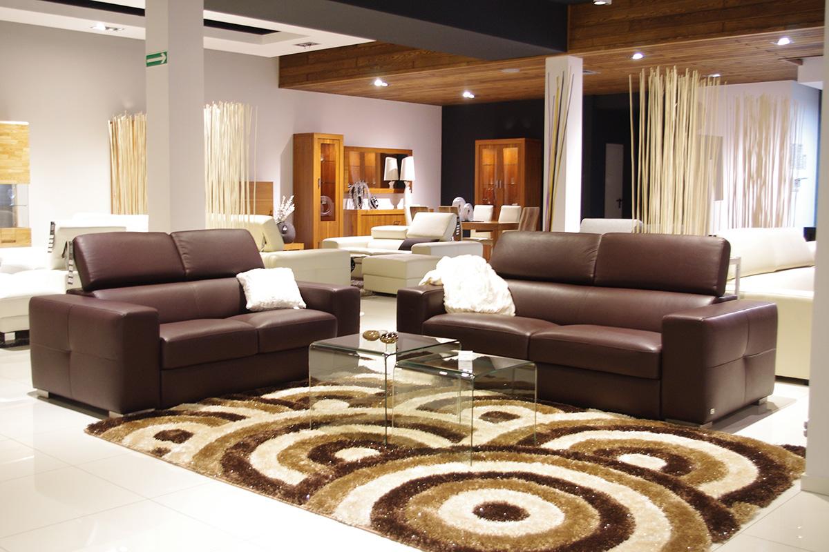 sofa skórzana brązowa z regulowanymi zaglówkami