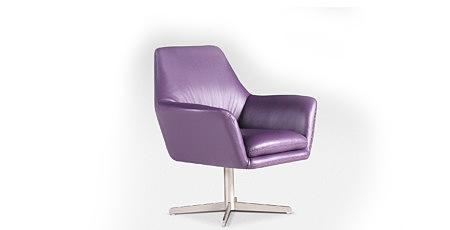 twist nowoczesny fotel obrotowy do salonu skórzany fioletowy metalowa stopa