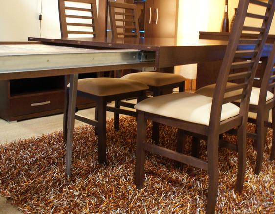 valencia stół rozkładany krzesła drewniane brązowe