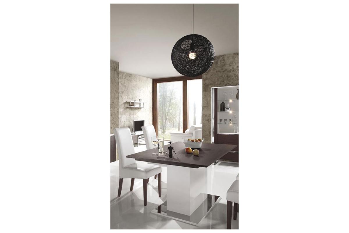 artvision nowoczesny stół na jednej nodze biały korpus blat wenge