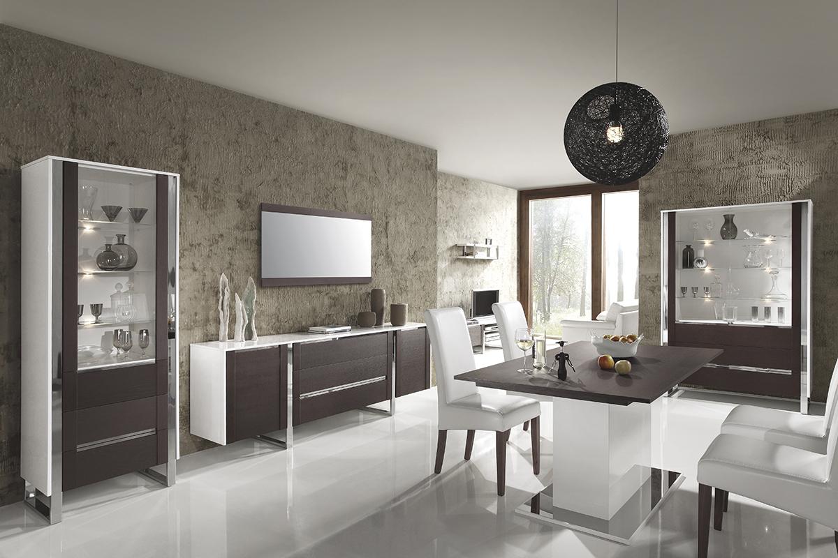 artvision zestaw mebli do salonu białe korpusy fronty wenge metalowe ozdoby