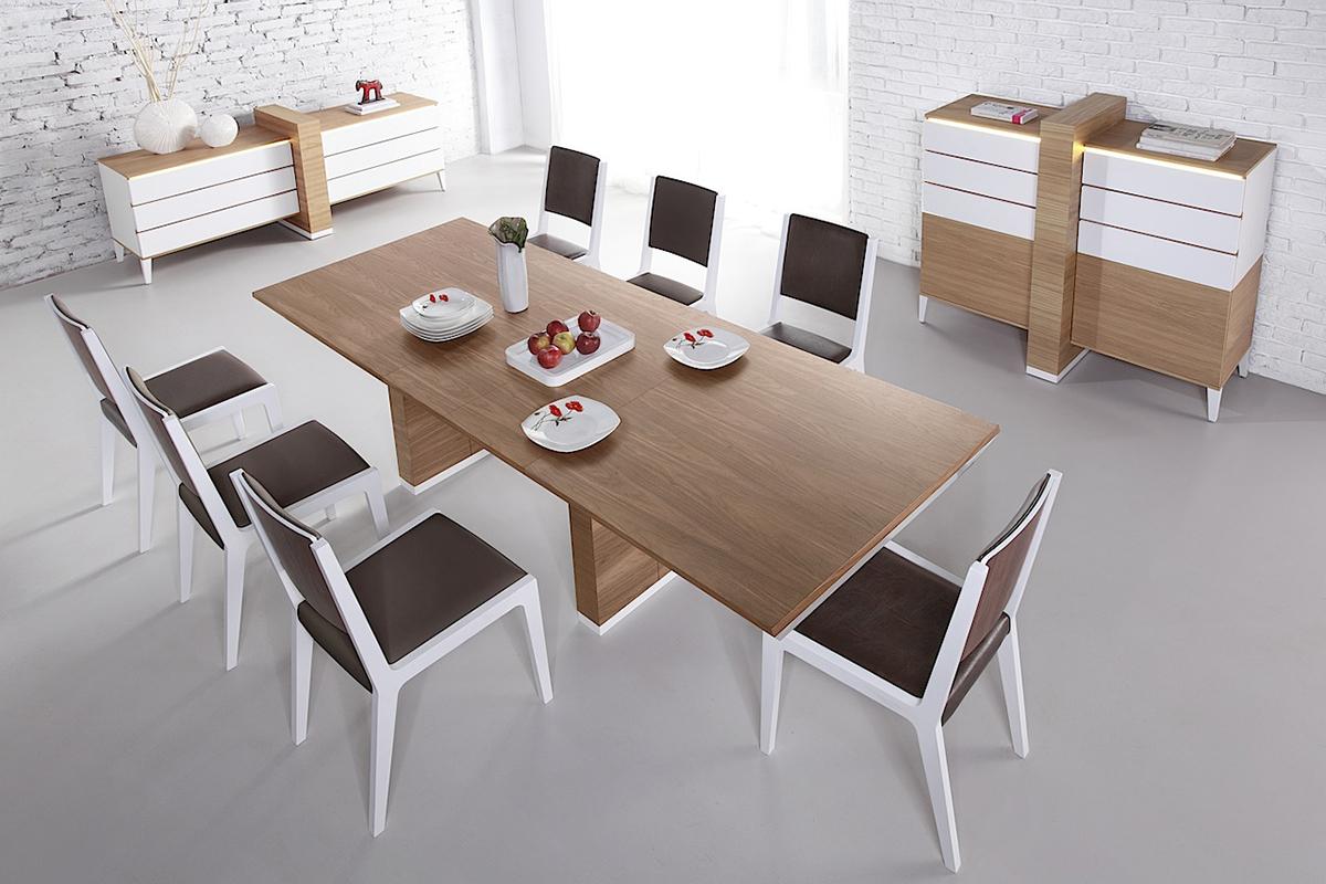 futureline stół orzech amerykański  białe krzesła skórzane