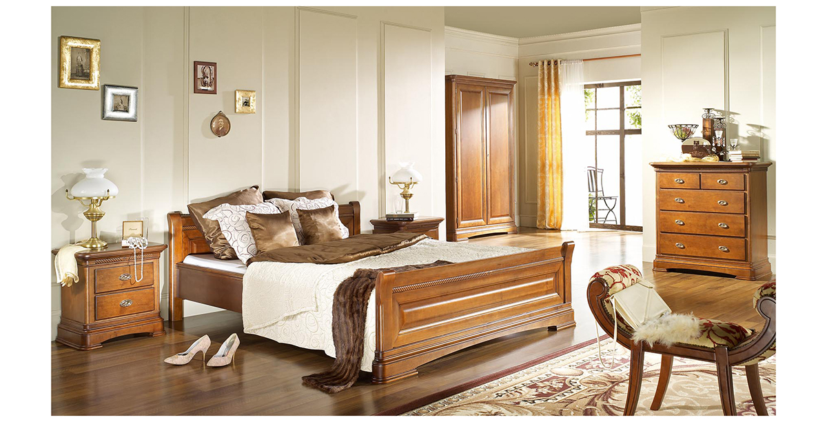 noblesse meble sypialnia stylowa włoski styl orzech patynowany