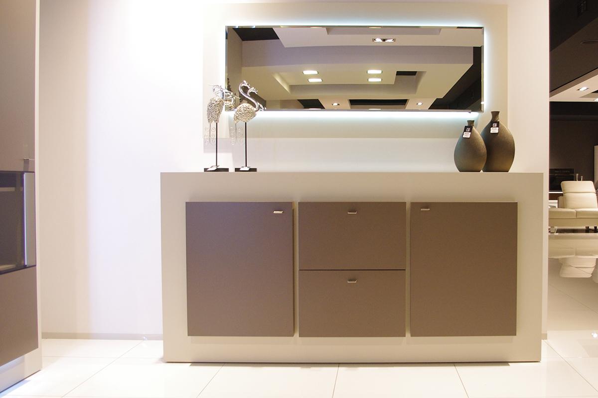 sevilla biała nowoczesna komoda beżowe fronty lustro