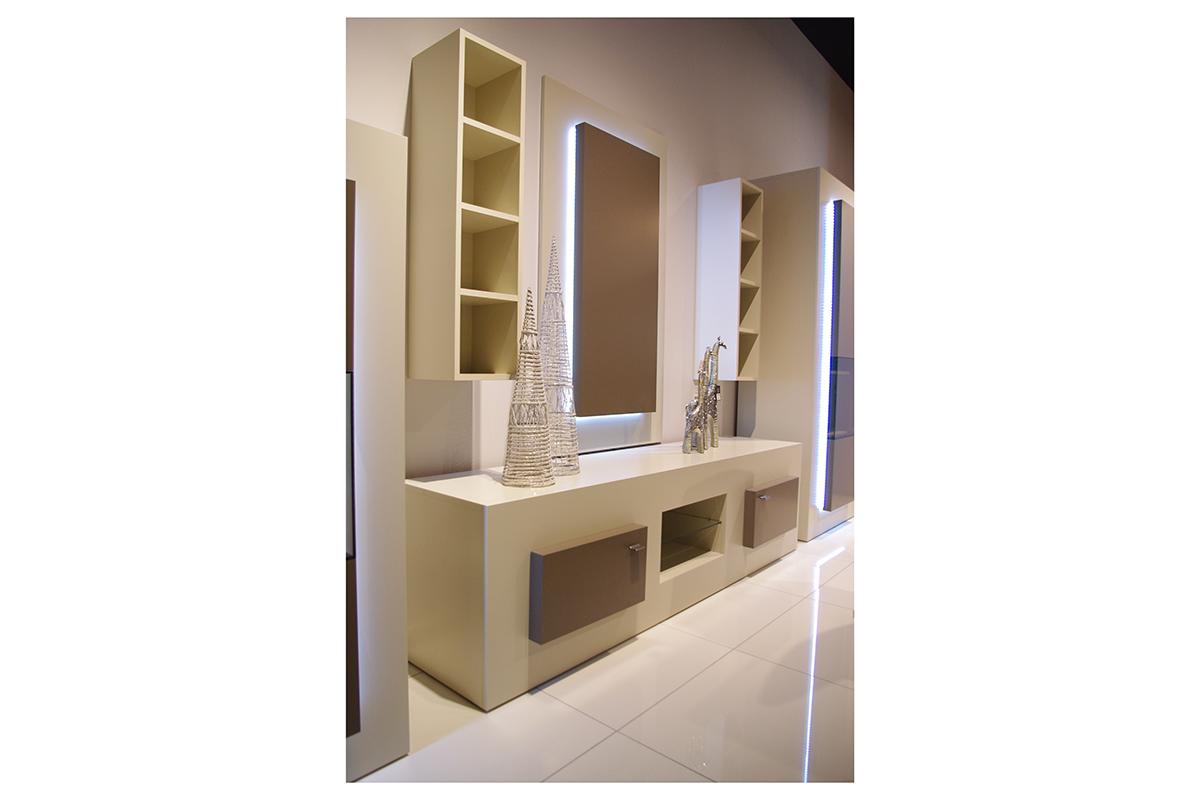 sevilla biała szafka pod telewizor beżowe drzwiczki szklana półka