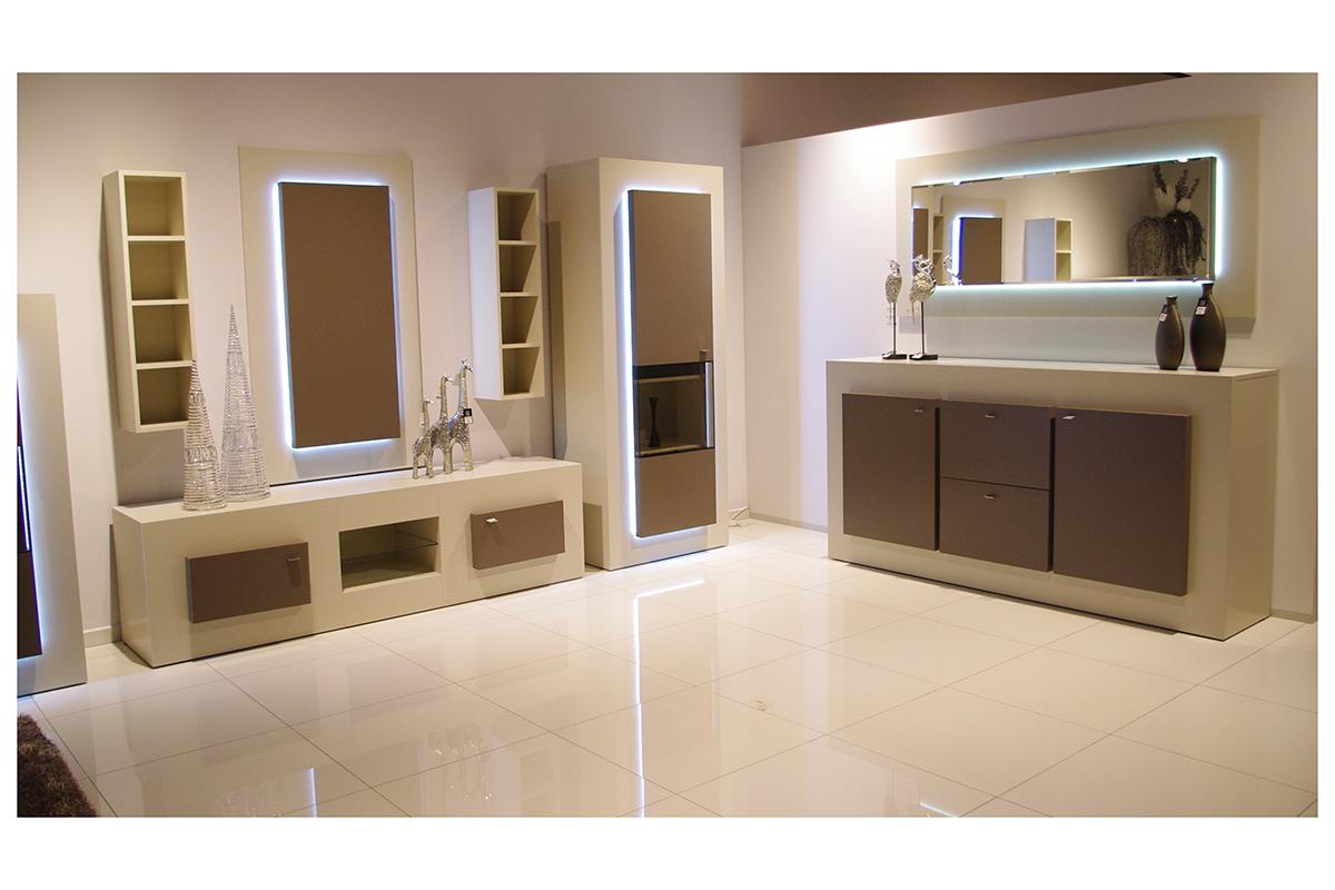 sevilla zestaw mebli w kolorze białym szafka rtv witryna komoda półki lustro