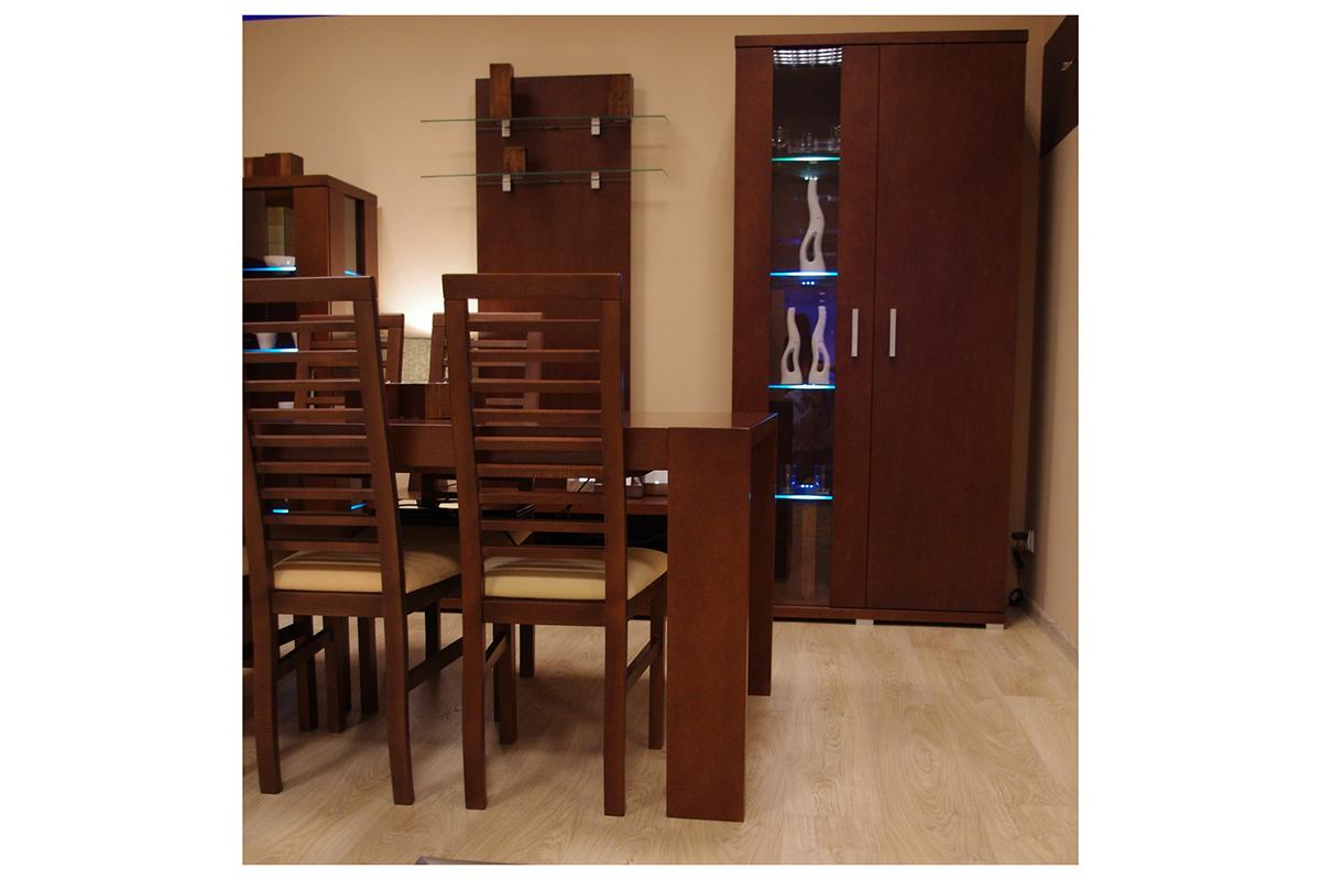 valencja stół dębowy z krzesłami witryna podświetlona led