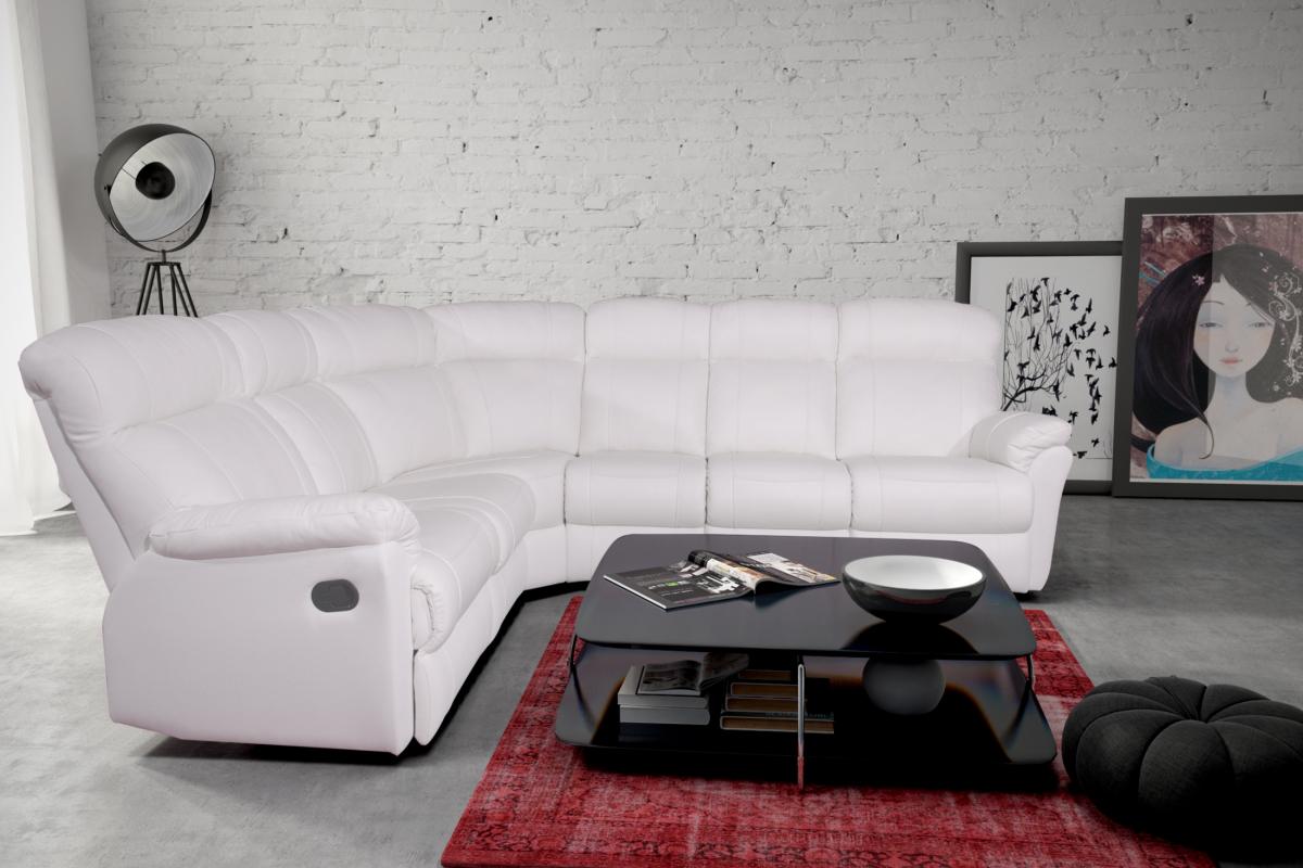 relax III biały narożnik skórzany nowoczesny komplet wypoczynkowy