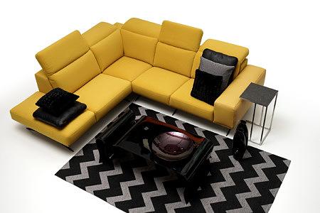 Giotto salon z żółtą sofą narożnikiem aranżacja pomysł inspiracja