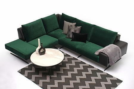 Rimini aranżacja pomysł na salon z zielonym nowoczesnym narożnikiem