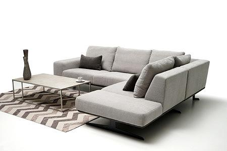 Rimini nowoczesny narożnik tapicerowany jasno szary oparcie poduszki