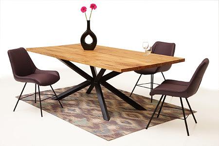 A8 stół z dębowym blatem do nowoczesnego salonu