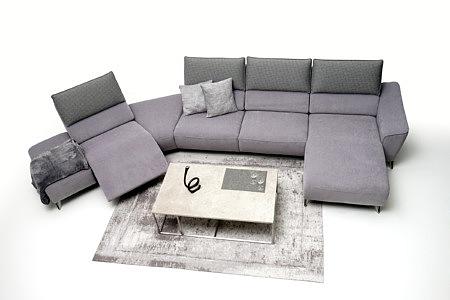 Aviva narożnik w kształcie banana fioletowy tapicerowany szare poduszki