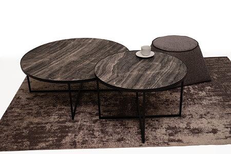 LB7 czarna ława okrągła i stolik kawowy blat ciemny marmur spiek