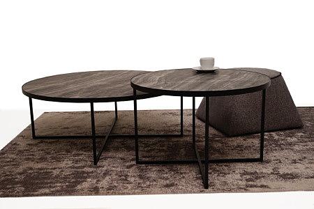 LB7 komplet mebli do salonu ława okrągła czarna i stolik kawowy