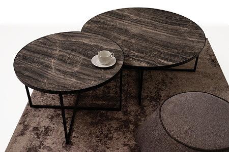 LB7 zestaw mebli do salonu solik kawowy i ława okrągła czarna
