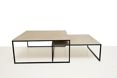 LB9 biała ława kwadratowa stolik kawowy spiek rama czarna