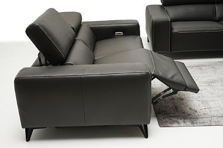 Longo elegancka czarna sofa skórzana z funkcją relax