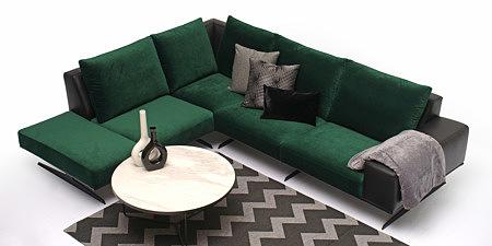 Rimini zielona nowoczesna sofa narożnik aranżacja salonu