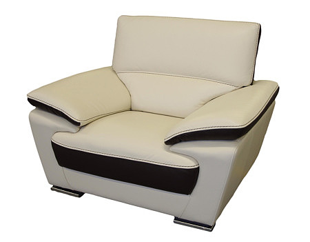 adria fotel skórzany jasny kremowy ze wstawkami brązowymi