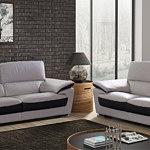 adria nowoczesna sofa szara skóra wstawki brązowe