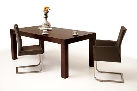 Barcelona masywny stół do salonu krzesła skóra metalowe
