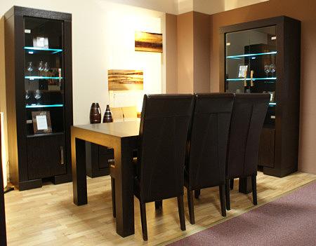 barcelona stół z krzesłami czarna skóra