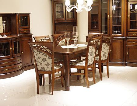 Brylant stół w okleinie naturalnej elemnty z drewna litego