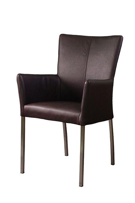 cameo krzesło z podłokietnikiem metalowe nogi skórzane brązowe