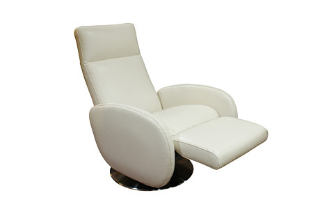Capri skórzany fotel z podnóżkiem