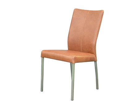 carla1 krzesło z metalowymi nogami skórzane brązowe