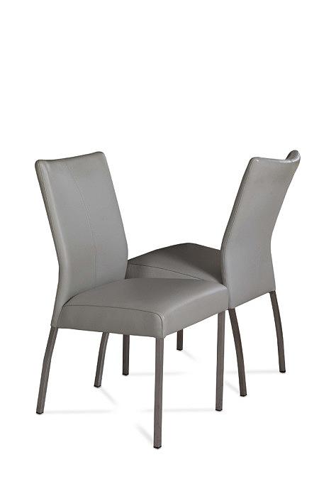 Carla1 szare krzesła skórzane z metalowymi nogami do jadalni
