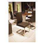 Carla3 krzesło na metalowych płozach brązowe skórzane
